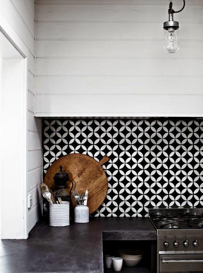 Carrelage noir et blanc pour cuisine