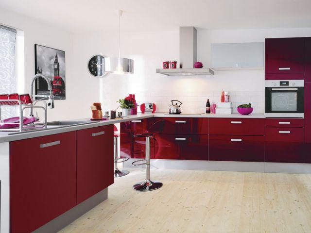 Modele cuisine couleur bordeaux maison et mobilier - Cuisine et couleurs ...