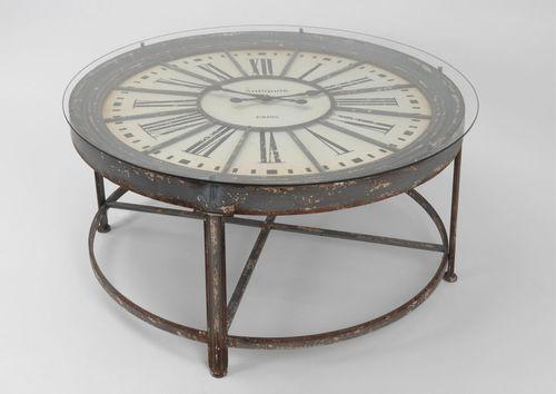 Table basse ronde avec horloge