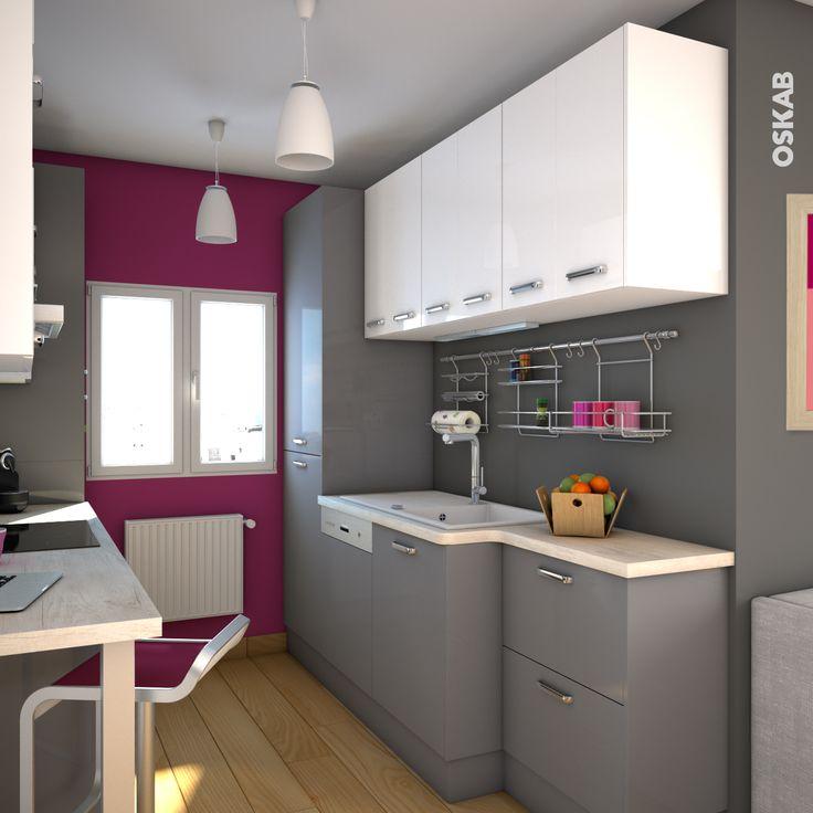 Modele de cuisine grise et blanche maison - Cuisine blanche mur gris ...