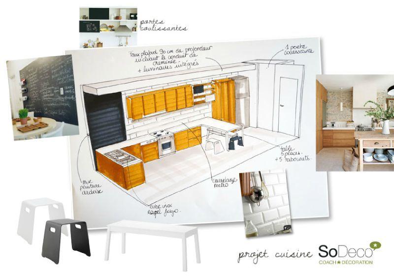 Plan de cuisine en couloir maison et mobilier - Idee cuisine en longueur ...