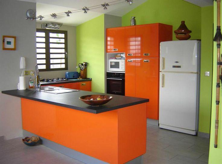 Decoration cuisine vert pistache et orange - Atwebster.fr - Maison ...