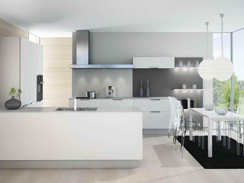 Deco cuisine blanc et gris maison et mobilier - Cuisine bois gris clair ...