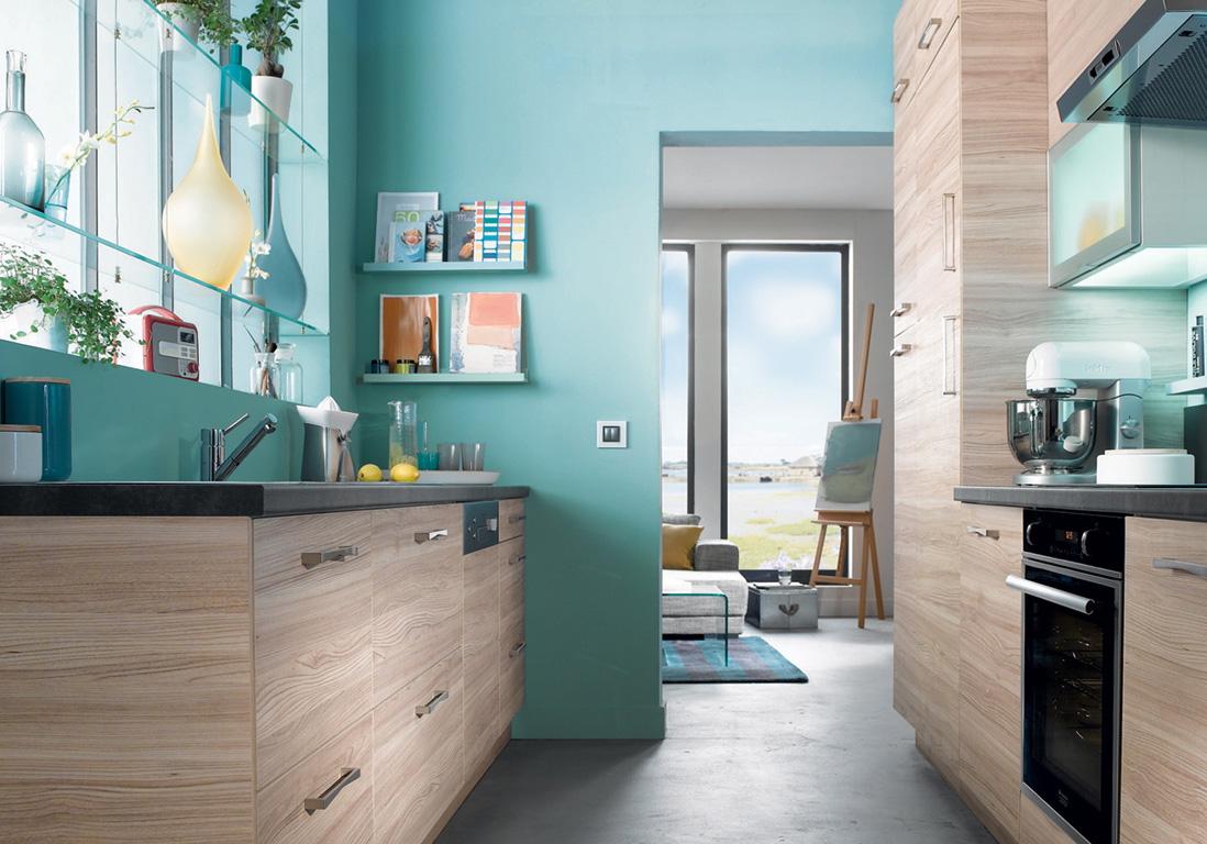 Deco cuisine bleu turquoise maison et mobilier - Meuble cuisine bleu ...