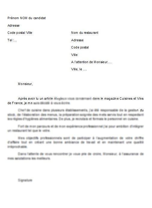 Modele De Lettre De Motivation De Cuisinier Atwebster Fr Maison