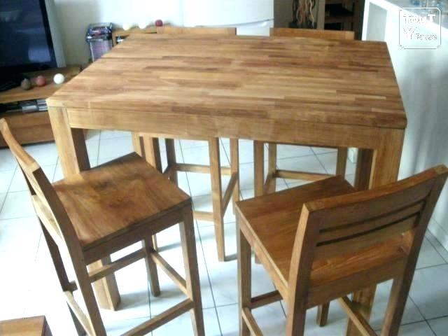 Table cuisine haute avec tabouret maison - Table haute avec tabouret pour cuisine ...