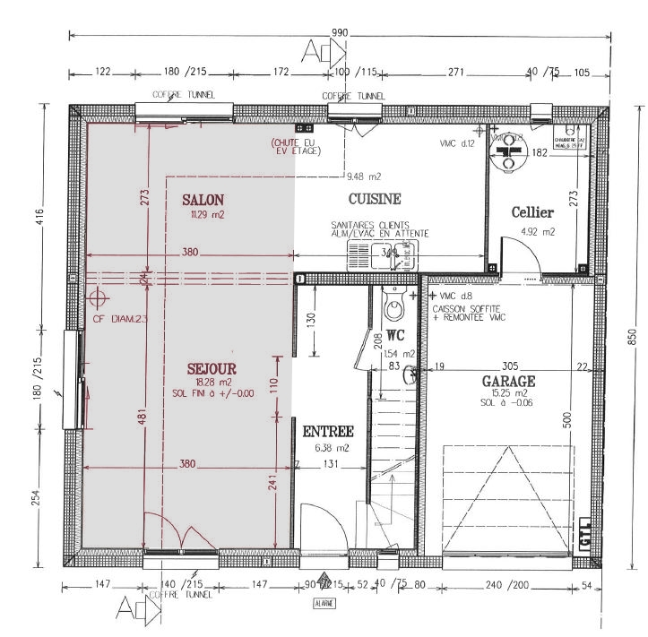 Plan cuisine salle manger salon maison - Amenagement salon salle a manger cuisine ouverte ...