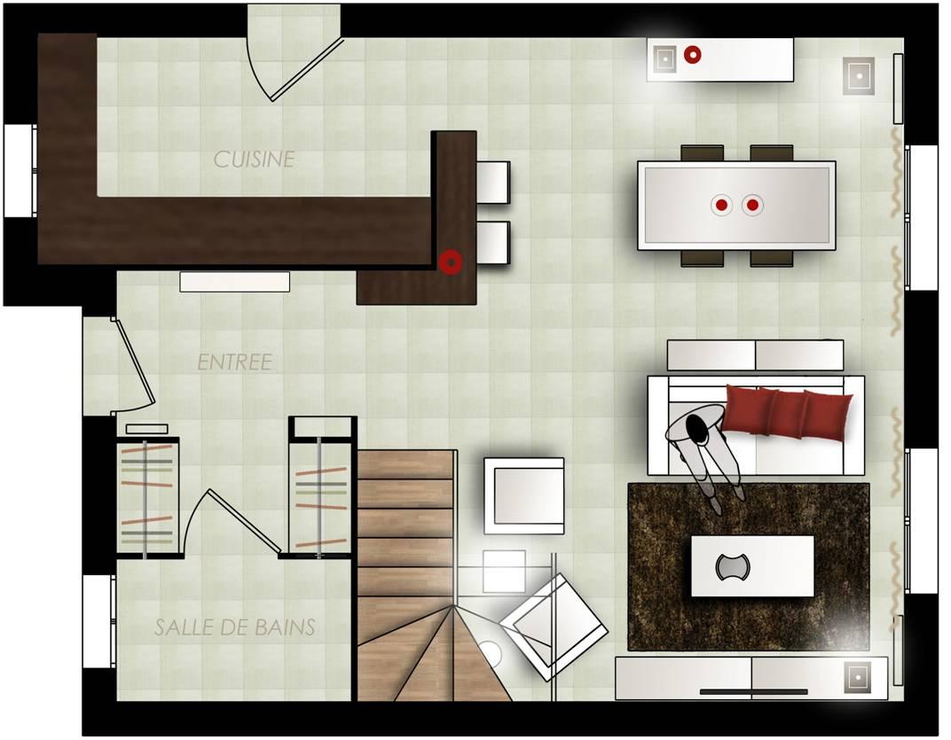 Plan cuisine salle a manger salon maison - Amenagement salon salle a manger 15m2 ...