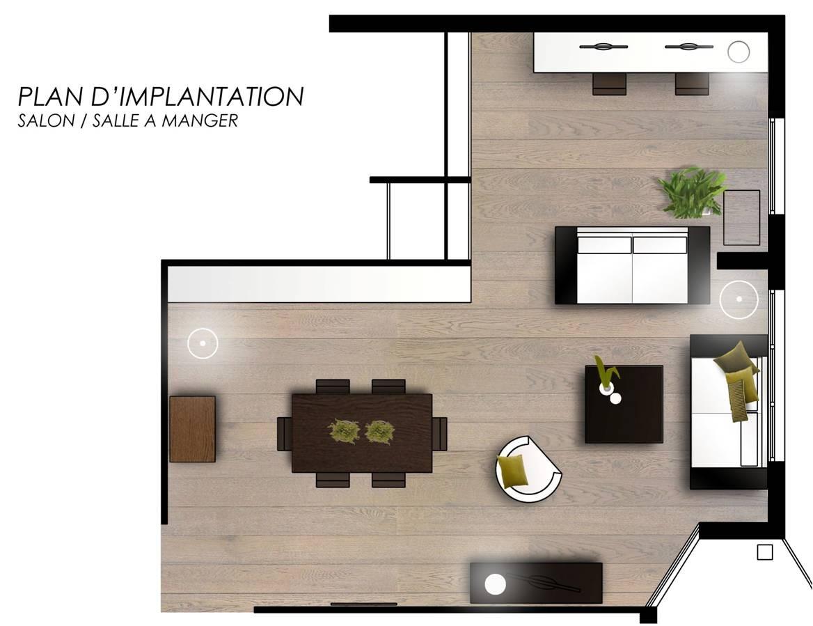 Plan salon salle a manger cuisine en l - Amenagement cuisine salon ...