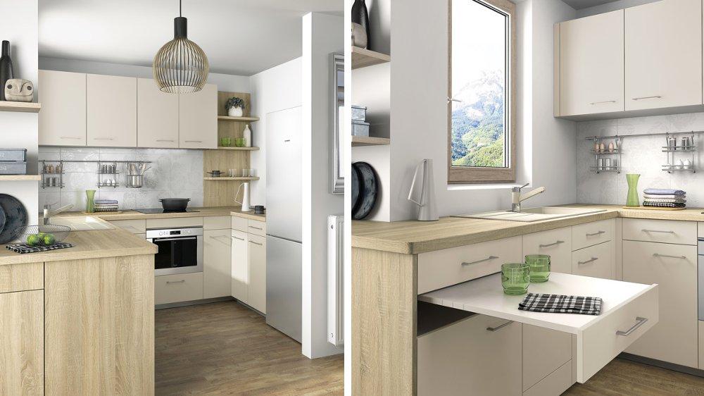 Table cuisine sous plan travail maison et - Plan de travail cuisine grande longueur ...