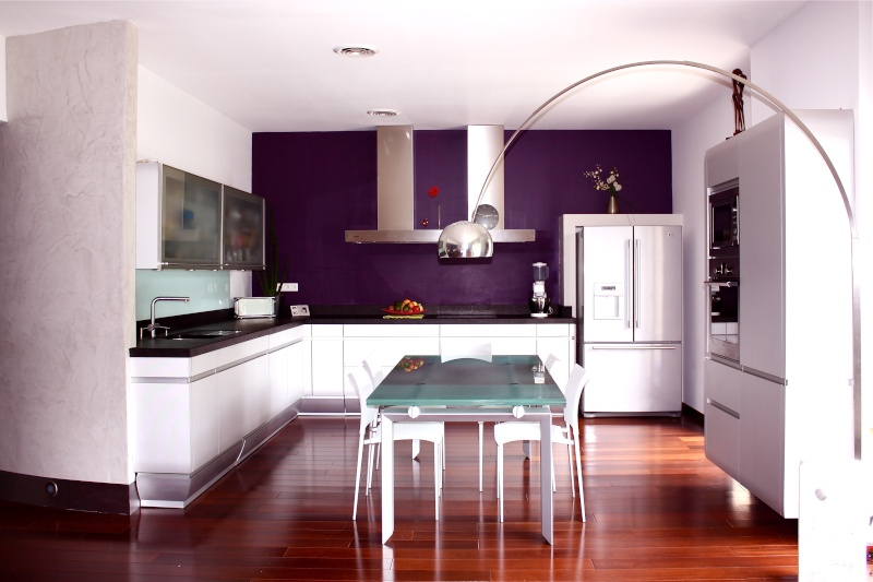 couleur mur cuisine aubergine maison et. Black Bedroom Furniture Sets. Home Design Ideas