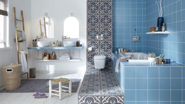Carrelage mural et sol salle de bain