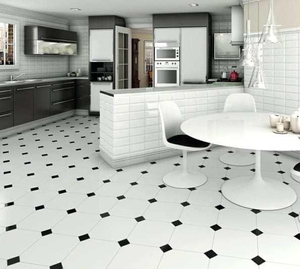 Lino carrelage noir et blanc