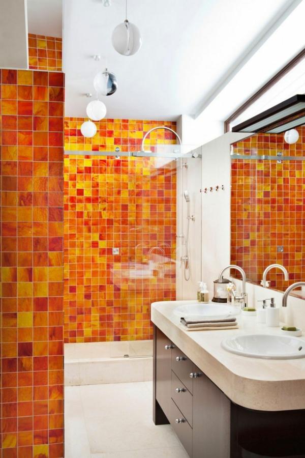 Carrelage salle de bain orange - Atwebster.fr - Maison et mobilier