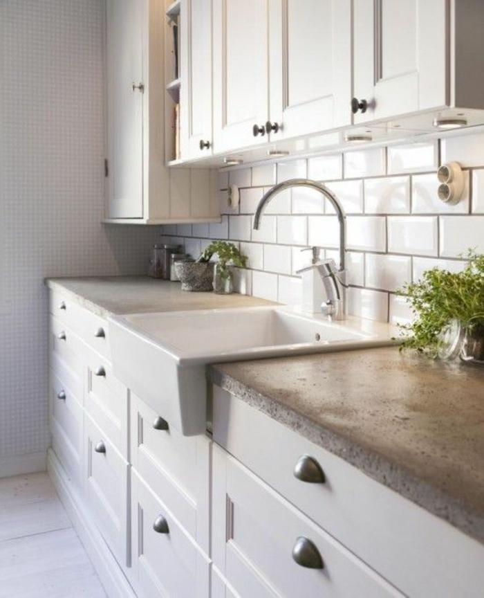 Carrelage brique blanc cuisine - Atwebster.fr - Maison et mobilier