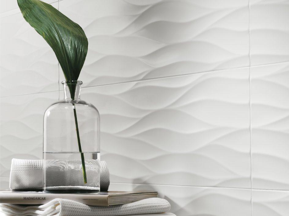 Carrelage blanc vague maison et mobilier - Carrelage salle de bain blanc ...