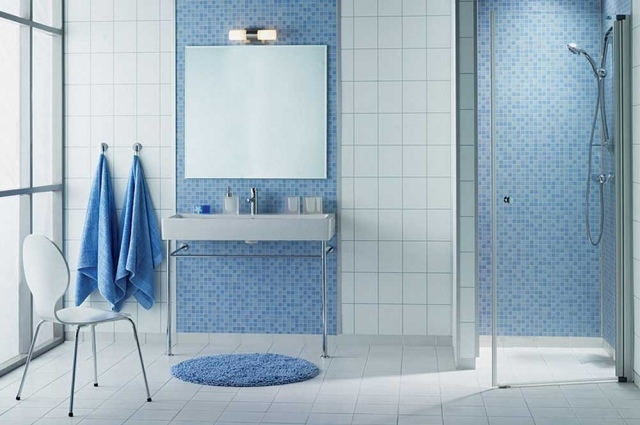 Carrelage bleu clair salle de bain - Atwebster.fr - Maison et mobilier