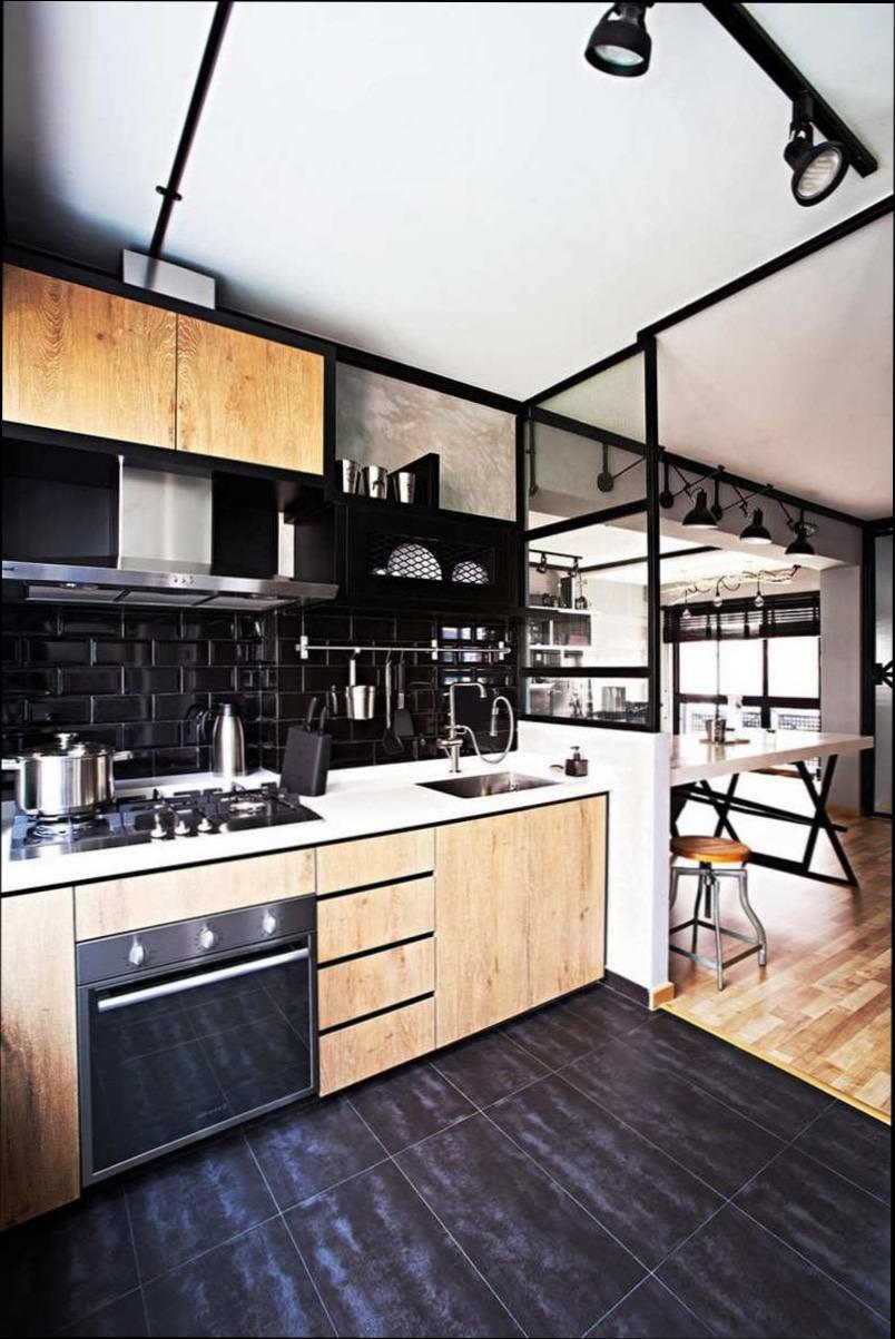 Carrelage noir dans une cuisine - Atwebster.fr - Maison et mobilier