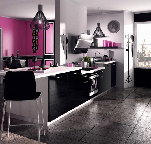Peinture mur cuisine noire maison et mobilier - Peinture murs cuisine ...