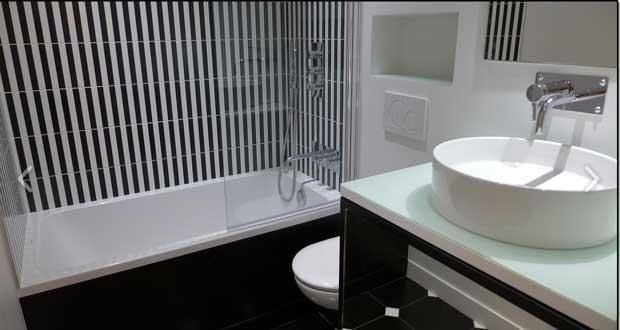 Idee deco peinture carrelage salle de bain - Atwebster.fr - Maison ...
