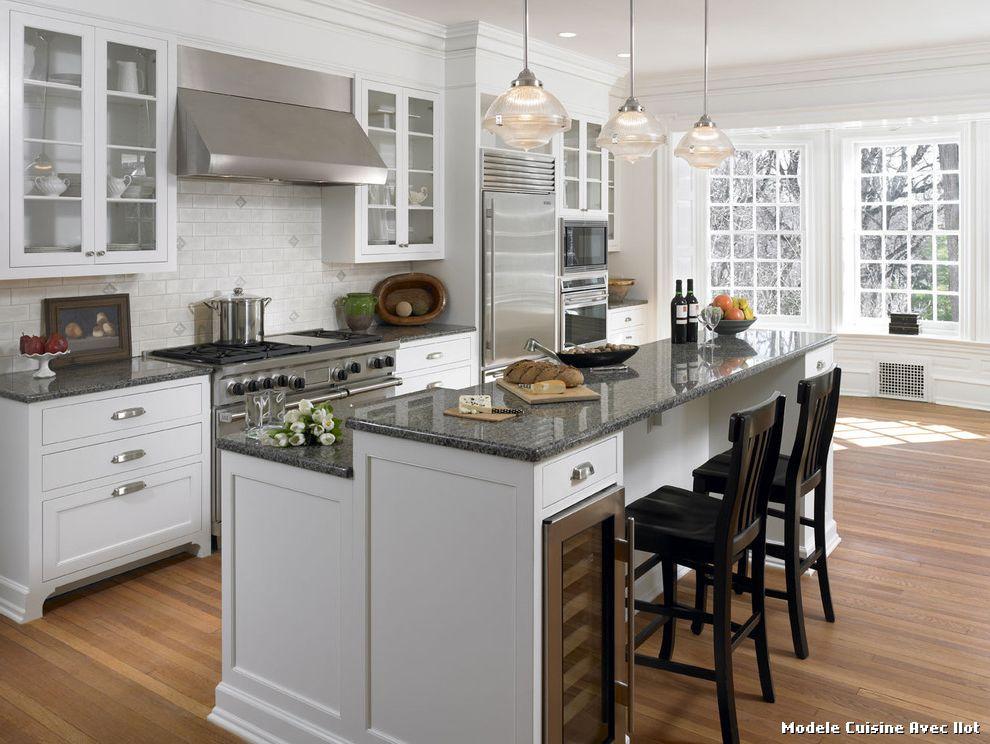 modele de cuisine en l avec ilot maison. Black Bedroom Furniture Sets. Home Design Ideas