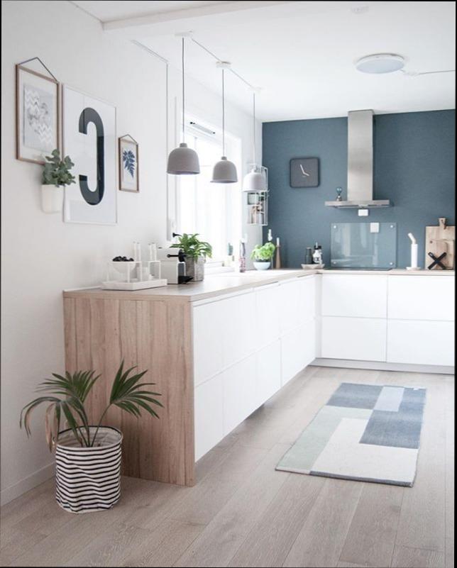 Photos cuisine blanche et bois maison et mobilier - Cuisine bleue et blanche ...
