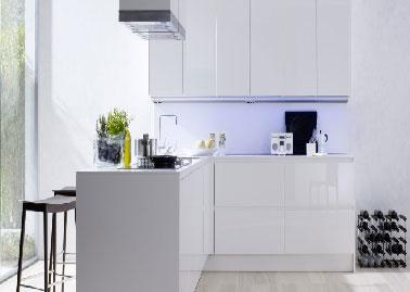 Petite cuisine design blanche maison et mobilier - Petite cuisine blanche ...
