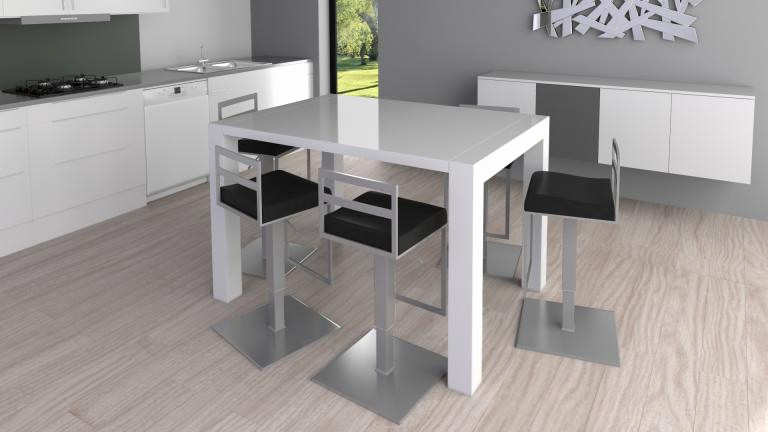 table de cuisine blanche laqu e maison et. Black Bedroom Furniture Sets. Home Design Ideas