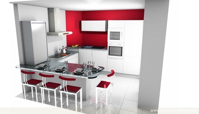 plan 3d cuisine ouverte maison et mobilier. Black Bedroom Furniture Sets. Home Design Ideas