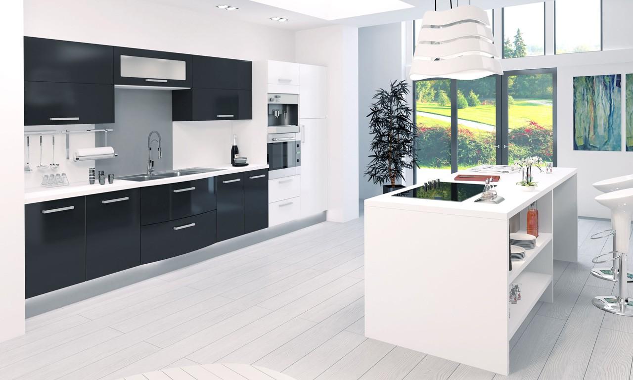 Photos cuisine blanc et noire maison et - Cuisine design blanche et noire ...