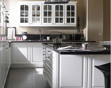 photo cuisine blanche plan de travail noir. Black Bedroom Furniture Sets. Home Design Ideas