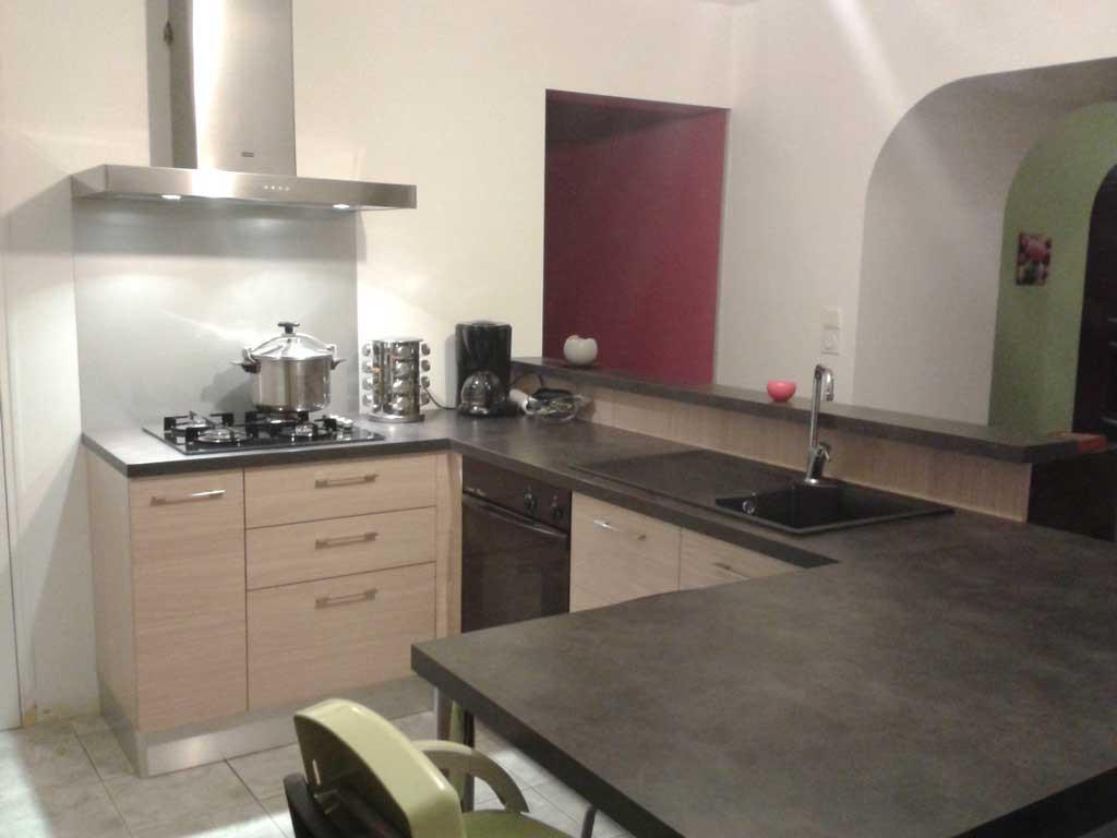 plan travail cuisine gris clair maison et. Black Bedroom Furniture Sets. Home Design Ideas