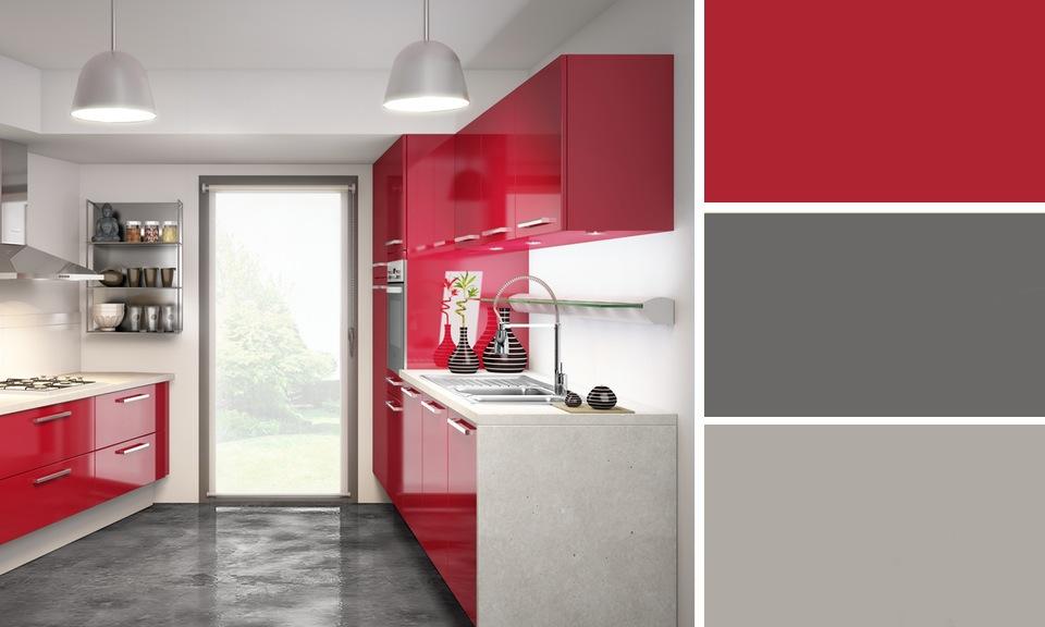 Couleur mur cuisine rouge maison et mobilier - Salon mur rouge et gris ...