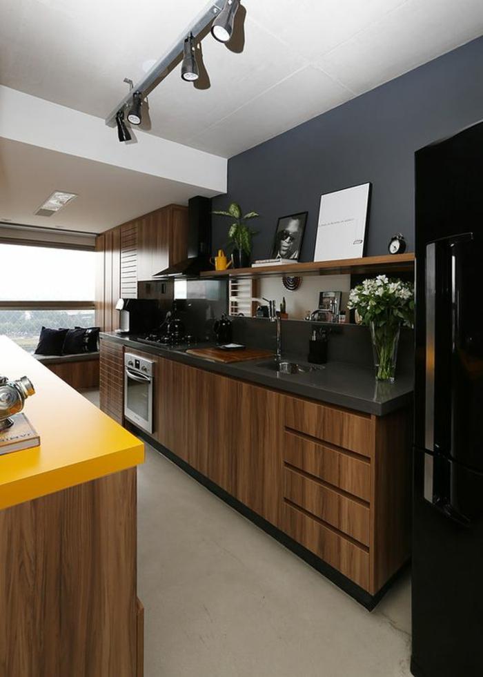Photo Cuisine Noire Et Jaune Atwebster Fr Maison Et Mobilier