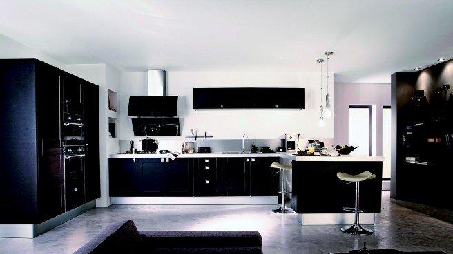 couleur pour cuisine noire maison et mobilier. Black Bedroom Furniture Sets. Home Design Ideas