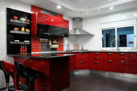 cuisine rouge et noire. Black Bedroom Furniture Sets. Home Design Ideas