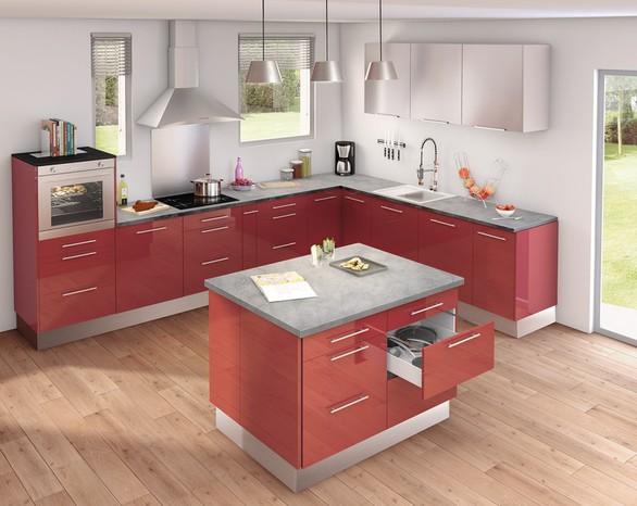 cuisine ilot central plan de travail. Black Bedroom Furniture Sets. Home Design Ideas
