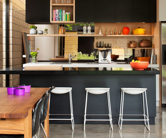 Deco peinture cuisine ouverte maison et mobilier - Cuisine moderne ouverte sur salon ...