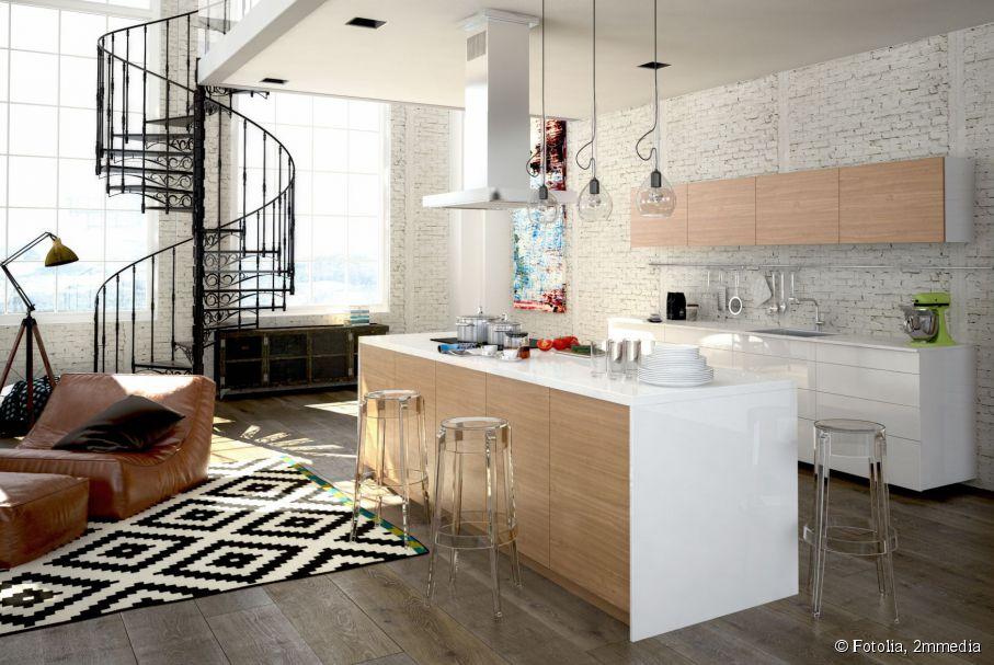 Idee deco petit salon cuisine ouverte - Idee amenagement cuisine ouverte sur salon ...