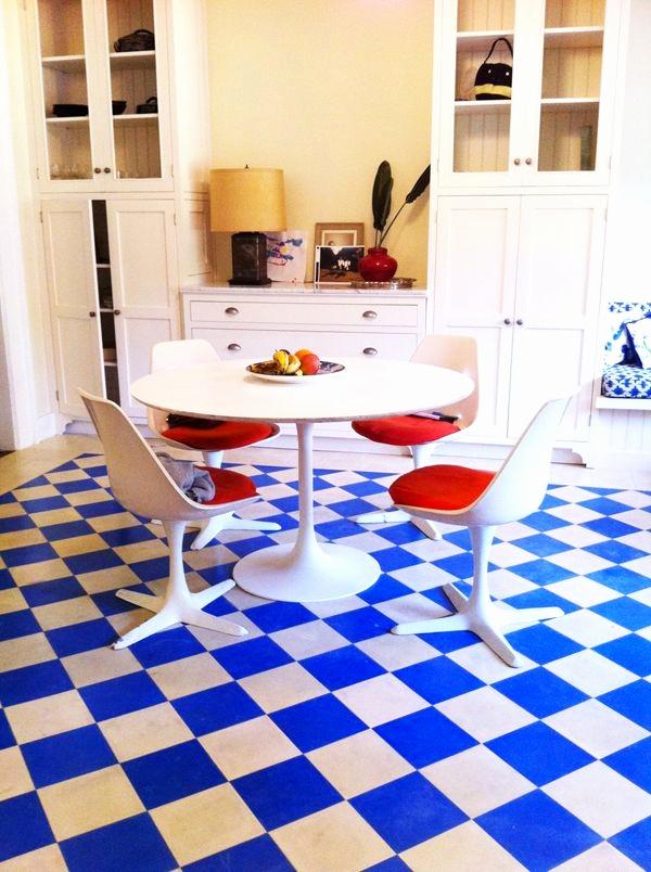 Carrelage cuisine sol bleu