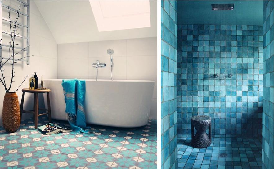 Carrelage bleu salle de bain - Atwebster.fr - Maison et mobilier