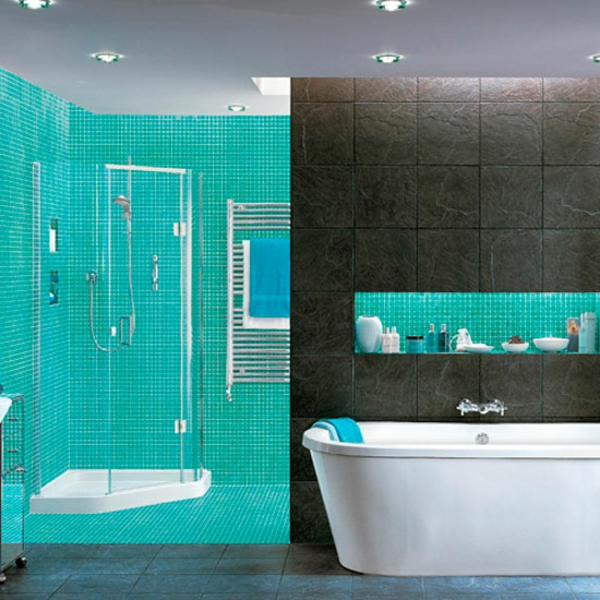 carrelage bleu turquoise salle de bain. Black Bedroom Furniture Sets. Home Design Ideas