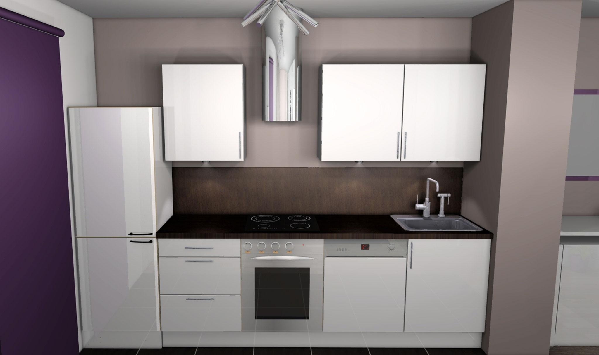 Photo cuisine blanche mur taupe - Atwebster.fr - Maison et mobilier