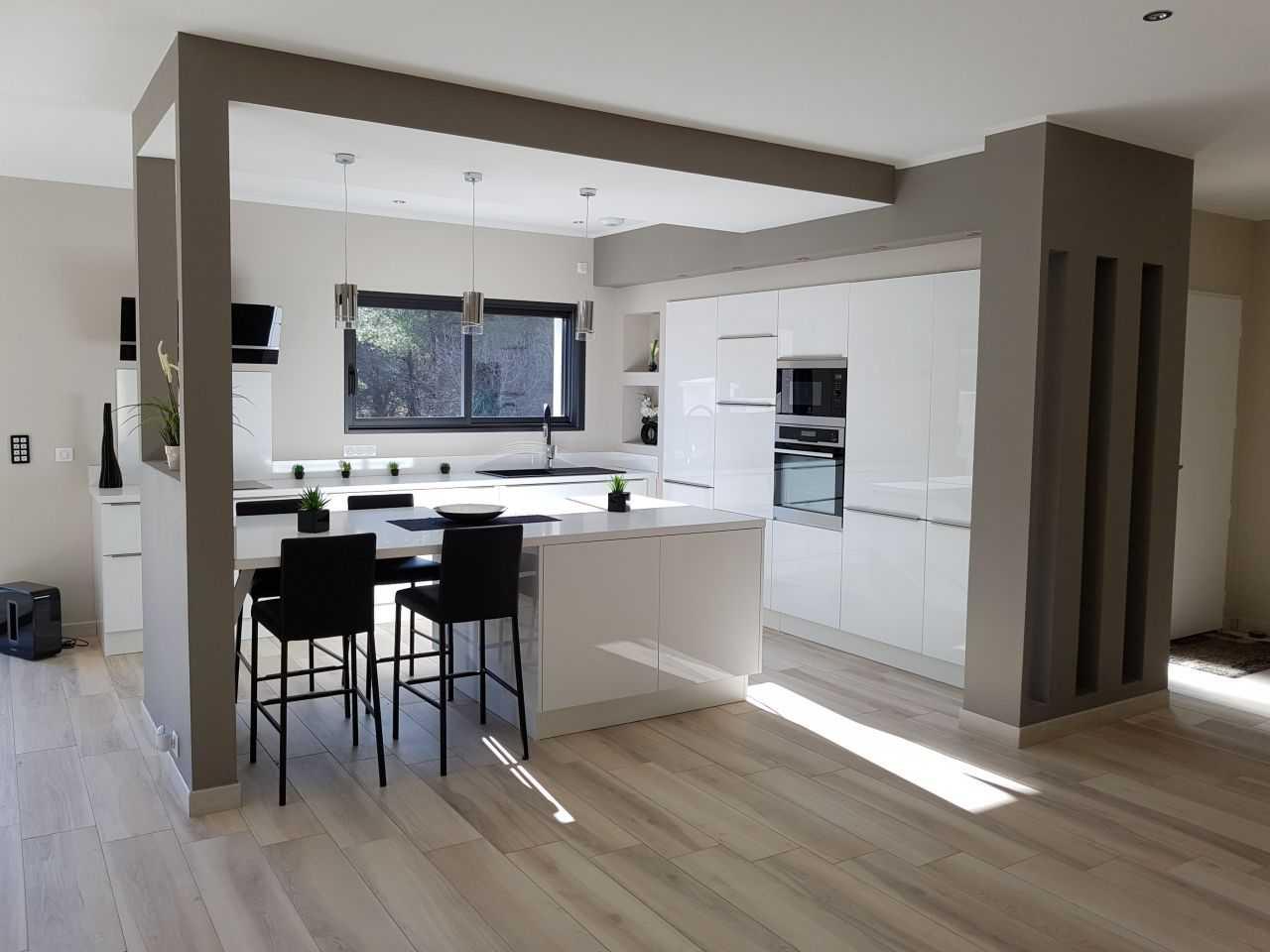 Carrelage avec parquet maison et mobilier - Cuisine avec sol parquet ...