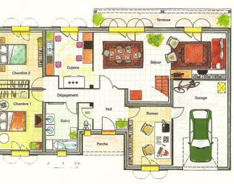 Plan de maison avec cuisine centrale - Definition d une cuisine centrale ...