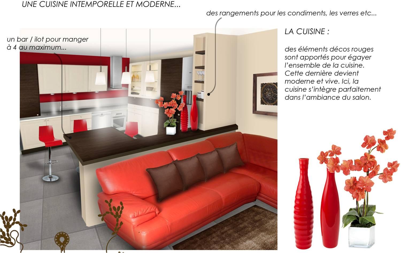 Deco salon avec cuisine ouverte rouge - Deco salon et cuisine ouverte ...
