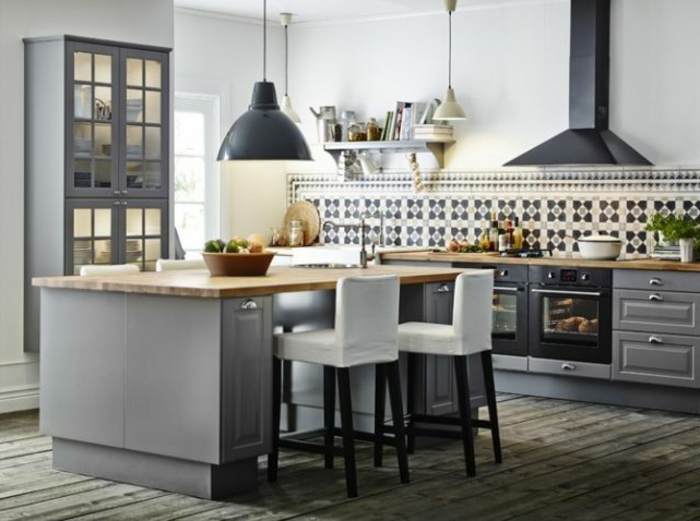 Petite cuisine avec ilot central ikea maison et mobilier - Taille ilot cuisine ...