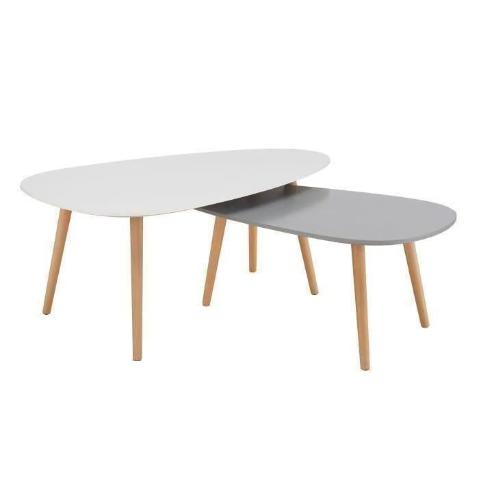 Table basse gigogne ovale blanche maison Table basse gigogne blanche