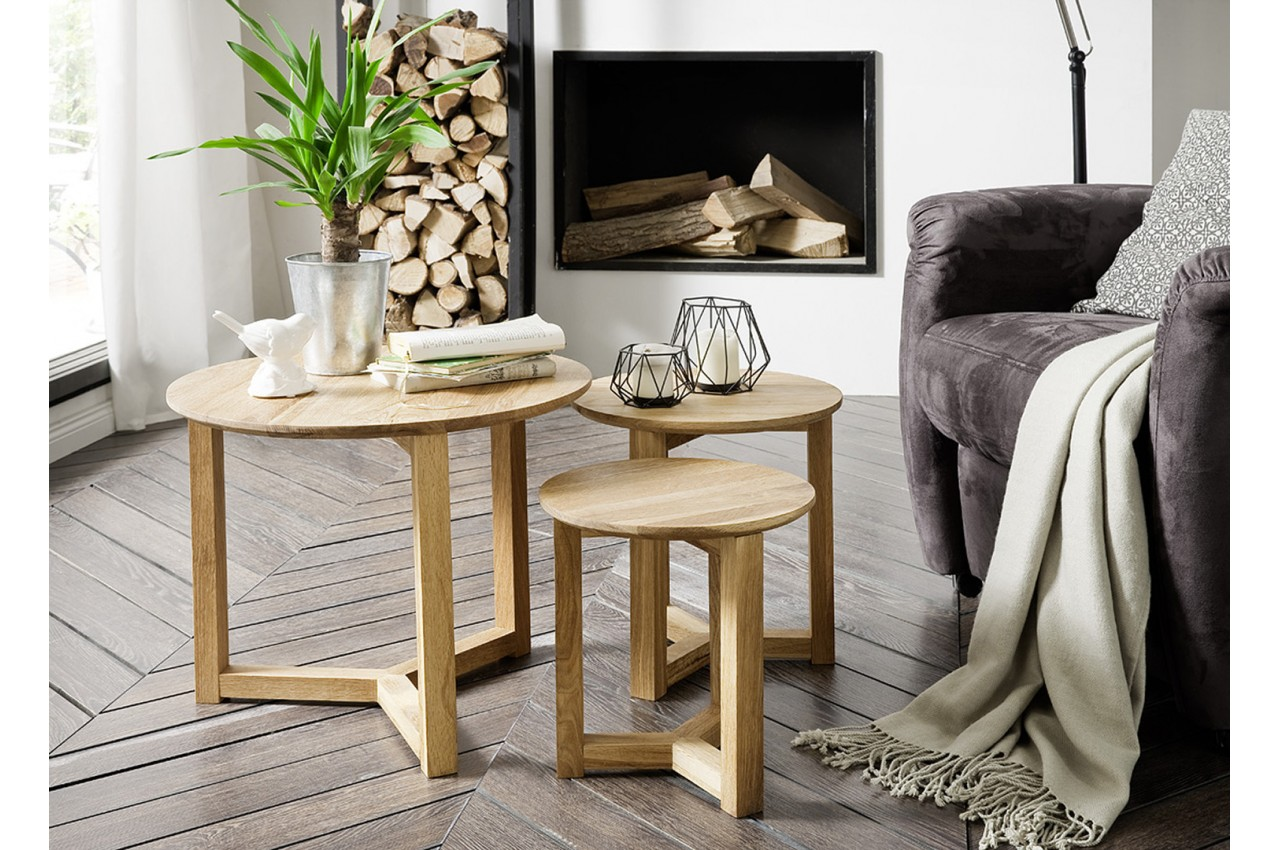 Table basse gigogne bois massif