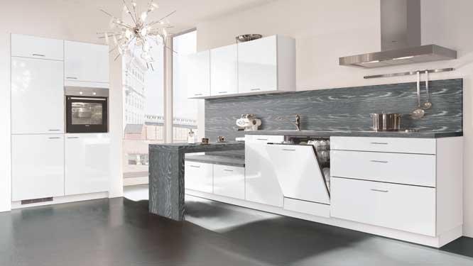 Photo de cuisine blanche et grise maison et mobilier - Cuisines blanches ...